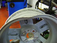 Damaged alloy wheel